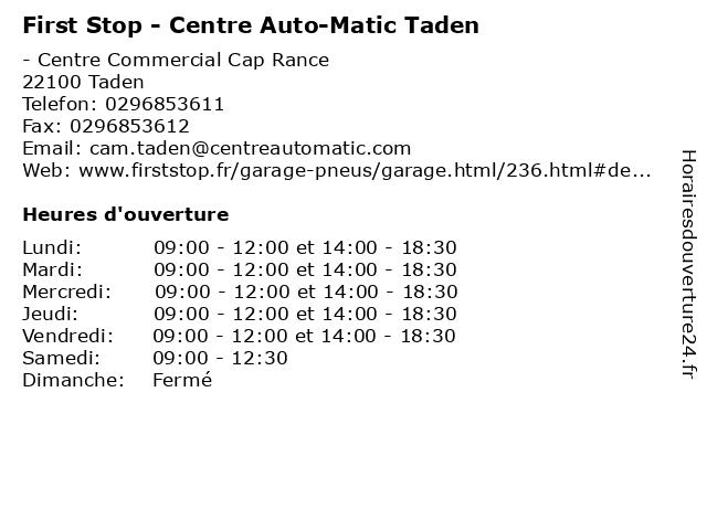 Centre Auto-Matic à Taden: adresse et heures d'ouverture