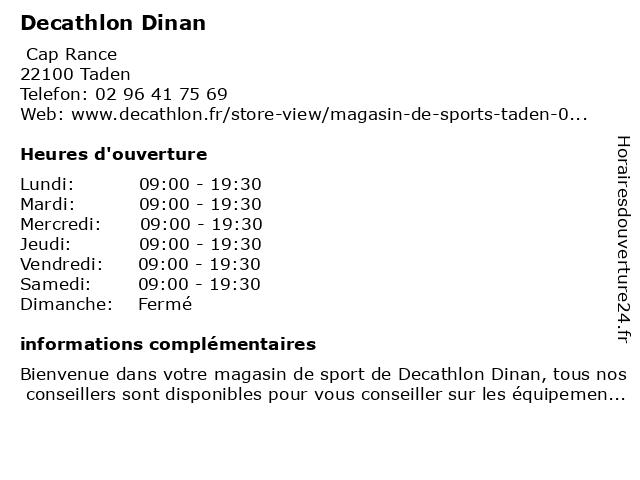Decathlon Dinan à Taden: adresse et heures d'ouverture