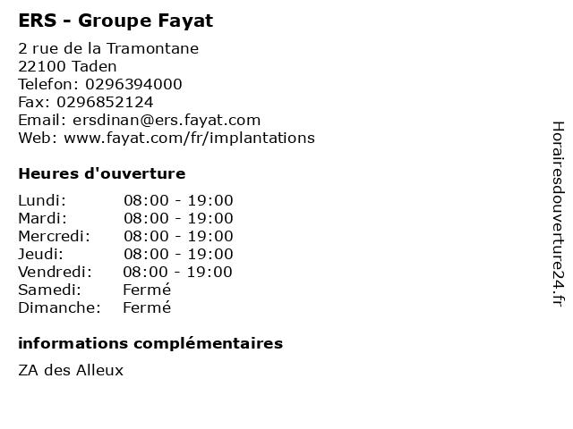 ERS - Groupe Fayat à Taden: adresse et heures d'ouverture