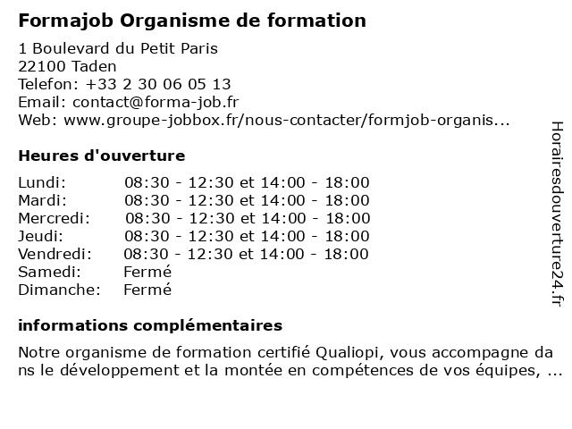 Form@job Organisme de formation à Taden: adresse et heures d'ouverture