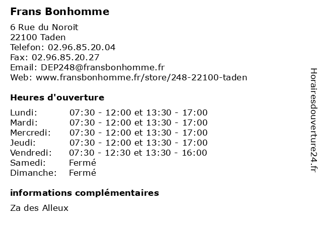 Frans Bonhomme à Taden: adresse et heures d'ouverture
