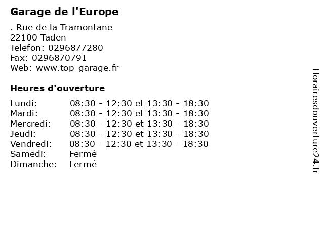 Garage de l'Europe à Taden: adresse et heures d'ouverture