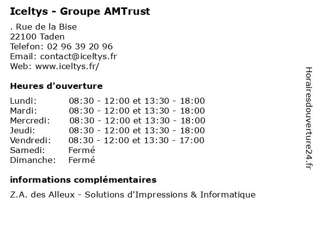 Iceltys - Groupe AMTrust à Taden: adresse et heures d'ouverture
