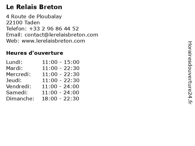 Le Relais Breton à Taden: adresse et heures d'ouverture
