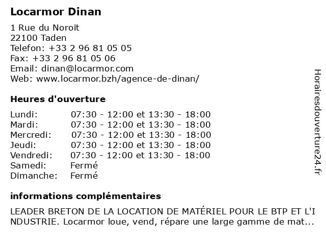 Locarmor Dinan à Taden: adresse et heures d'ouverture