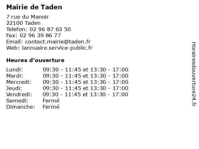 Mairie de Taden à Taden: adresse et heures d'ouverture