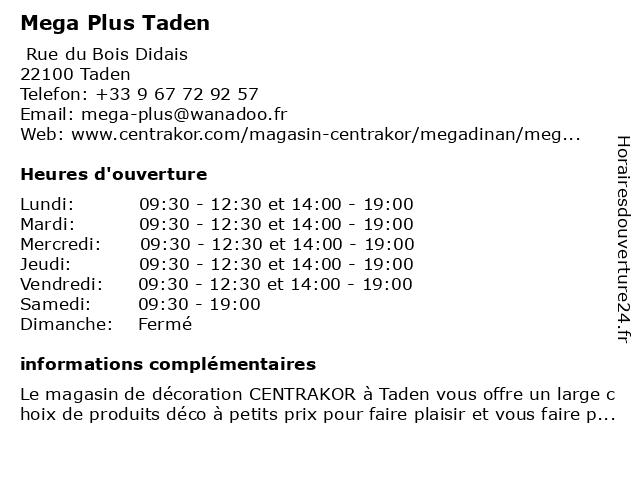 Mega Plus Taden à Taden: adresse et heures d'ouverture