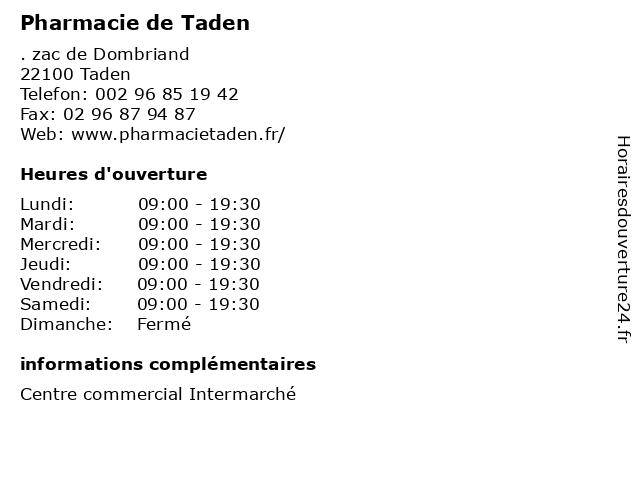 Pharmacie de Taden à Taden: adresse et heures d'ouverture