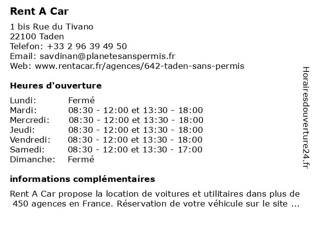 Rent A Car à Taden: adresse et heures d'ouverture