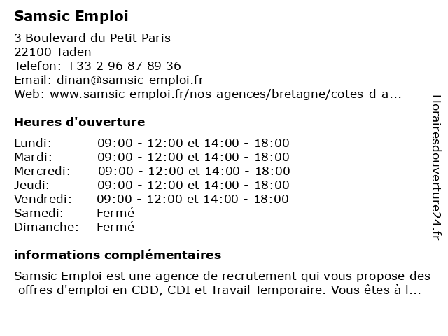 Samsic Emploi Dinan à Taden: adresse et heures d'ouverture
