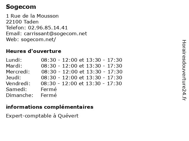 Sogecom à Taden: adresse et heures d'ouverture