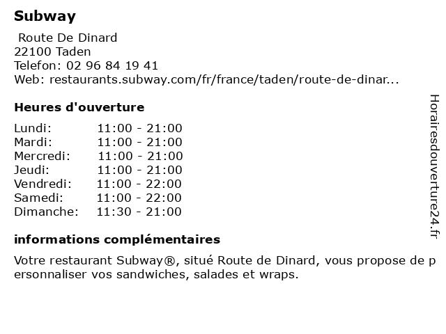 Subway à Taden: adresse et heures d'ouverture
