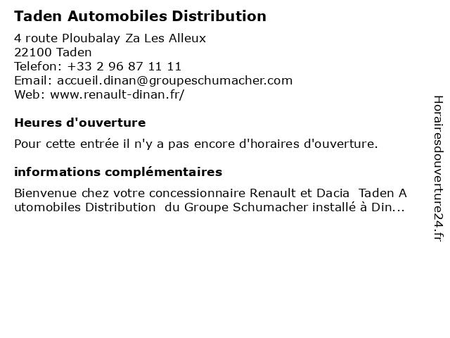 Taden Automobiles Distribution à Taden: adresse et heures d'ouverture
