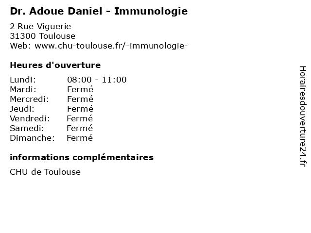 Dr. Adoue Daniel - Immunologie à Toulouse: adresse et heures d'ouverture