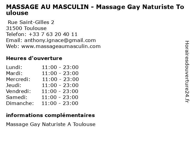 MASSAGE AU MASCULIN - Massage Gay Naturiste Toulouse à Toulouse: adresse et heures d'ouverture