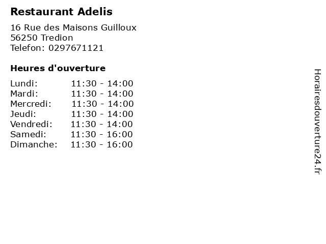 Restaurant Adelis à Tredion: adresse et heures d'ouverture