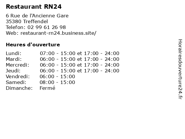 Restaurant RN24 à Treffendel: adresse et heures d'ouverture