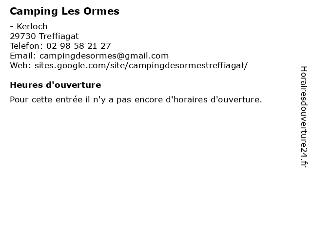 Camping Les Ormes à Treffiagat: adresse et heures d'ouverture