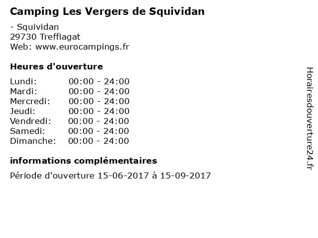 Camping Les Vergers de Squividan à Treffiagat: adresse et heures d'ouverture