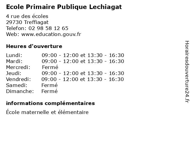 Ecole Primaire Publique Lechiagat à Treffiagat: adresse et heures d'ouverture