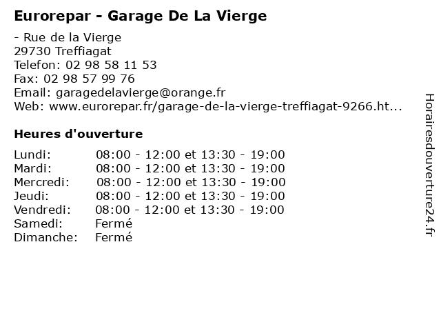 GARAGE DE LA VIERGE à Treffiagat: adresse et heures d'ouverture
