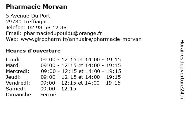Pharmacie Morvan à Treffiagat: adresse et heures d'ouverture