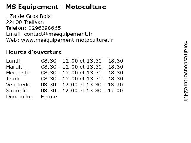 MS Equipement - Motoculture à Trelivan: adresse et heures d'ouverture
