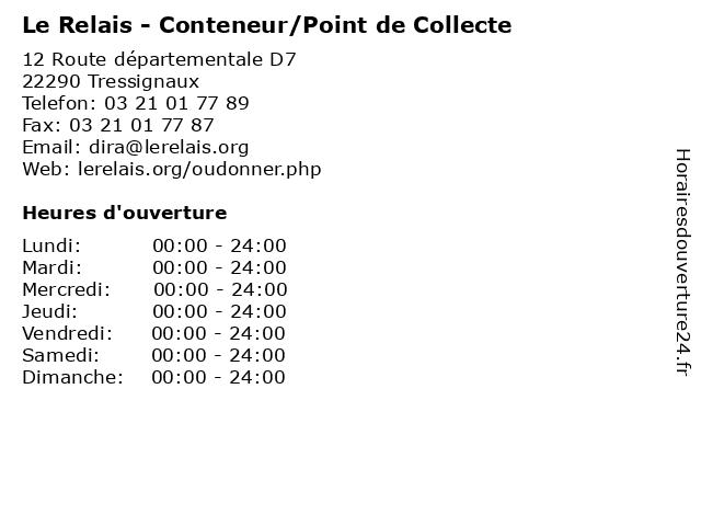 Le Relais - Conteneur/Point de Collecte à Tressignaux: adresse et heures d'ouverture
