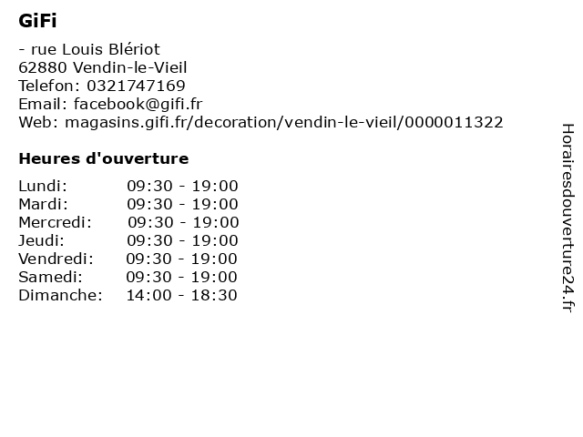 ᐅ Gifi Horaires D Ouverture Rue Louis Blériot à Vendin Le Vieil