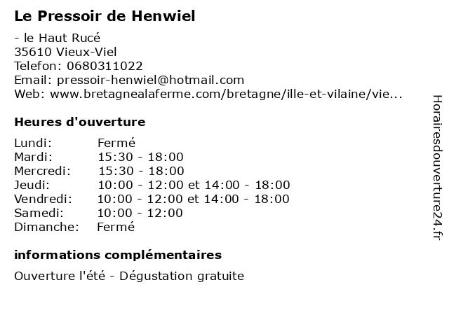 Le Pressoir de Henwiel à Vieux-Viel: adresse et heures d'ouverture