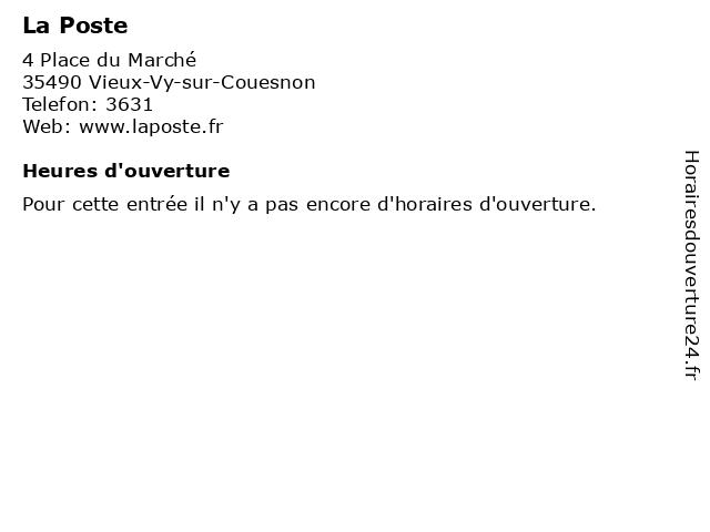 La Poste à Vieux-Vy-sur-Couesnon: adresse et heures d'ouverture