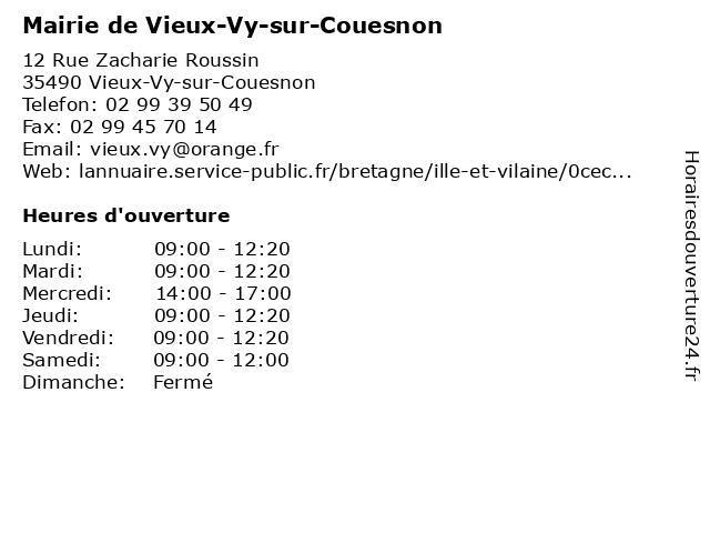 Mairie de Vieux-Vy-sur-Couesnon à Vieux-Vy-sur-Couesnon: adresse et heures d'ouverture