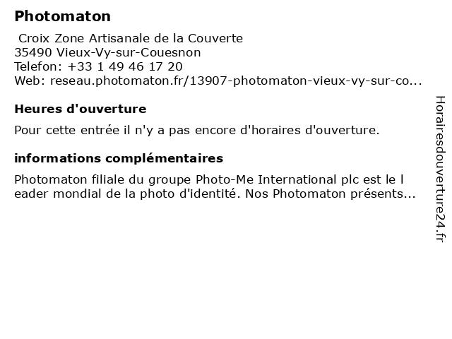 Photomaton à Vieux-Vy-sur-Couesnon: adresse et heures d'ouverture