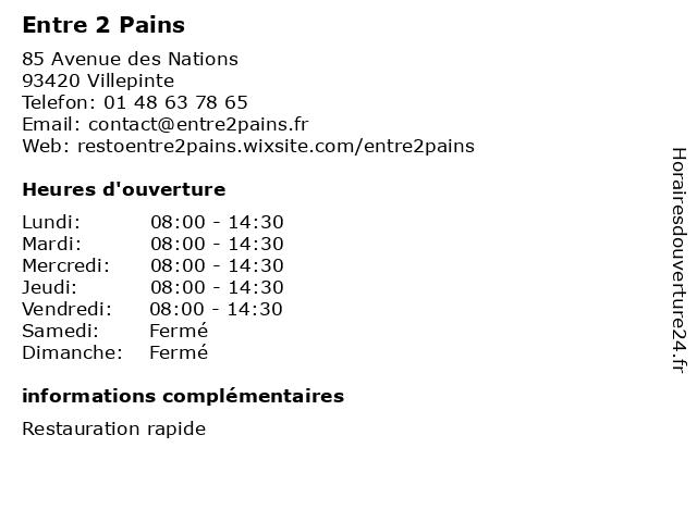 Entre 2 Pains à Villepinte: adresse et heures d'ouverture