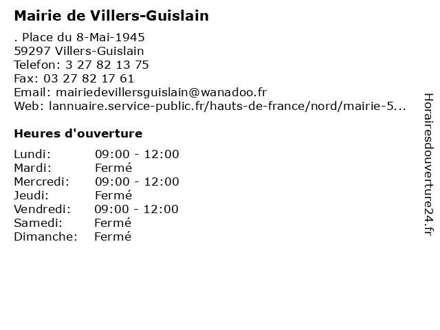 Mairie de Villers-Guislain à Villers-Guislain: adresse et heures d'ouverture