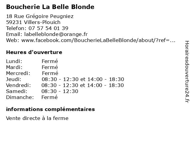 Boucherie La Belle Blonde à Villers-Plouich: adresse et heures d'ouverture
