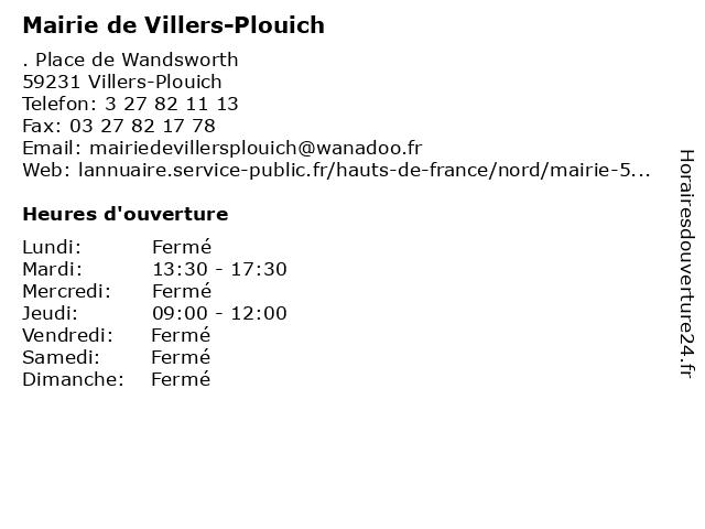 Mairie de Villers-Plouich à Villers-Plouich: adresse et heures d'ouverture