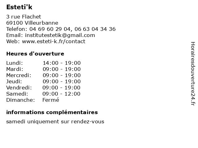 Esteti'k à Villeurbanne: adresse et heures d'ouverture