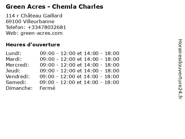 Green Acres - Chemla Charles à Villeurbanne: adresse et heures d'ouverture