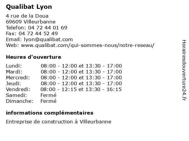 Qualibat Lyon à Villeurbanne: adresse et heures d'ouverture