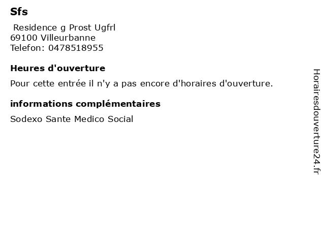 Sfs à Villeurbanne: adresse et heures d'ouverture