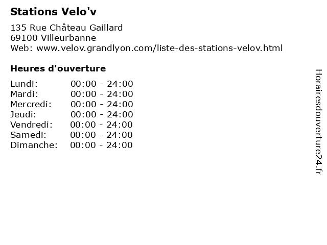 Stations Velo'v à Villeurbanne: adresse et heures d'ouverture
