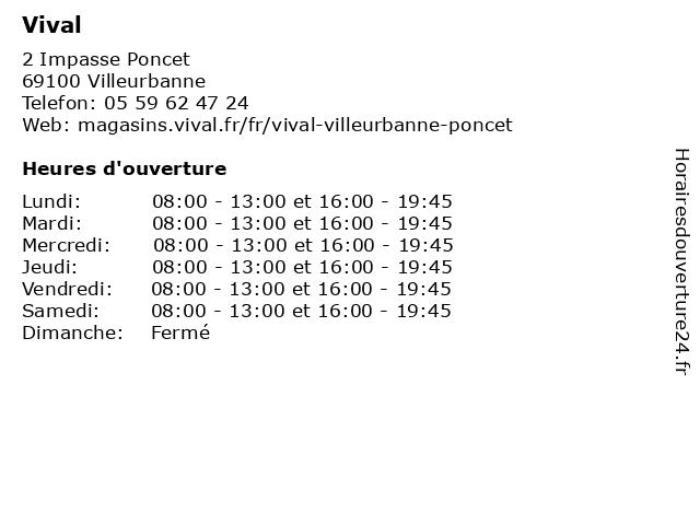 Vival à Villeurbanne: adresse et heures d'ouverture