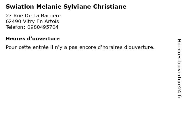 Swiatlon Melanie Sylviane Christiane à Vitry En Artois: adresse et heures d'ouverture