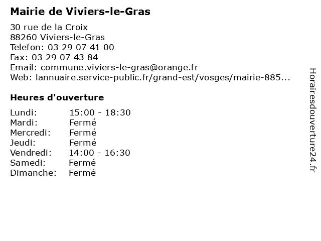 Mairie de Viviers-le-Gras à Viviers-le-Gras: adresse et heures d'ouverture