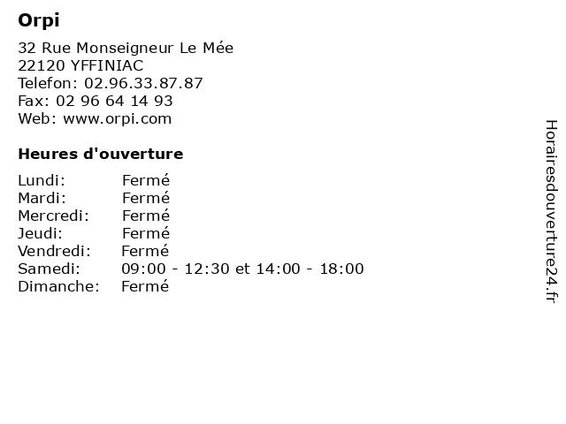 Orpi à YFFINIAC: adresse et heures d'ouverture