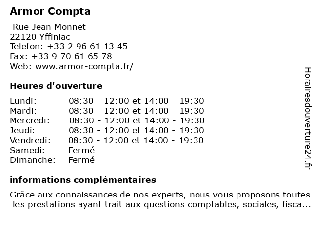 Armor Compta à Yffiniac: adresse et heures d'ouverture