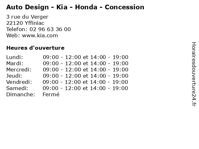Auto Design - Kia - Honda - Concession à Yffiniac: adresse et heures d'ouverture