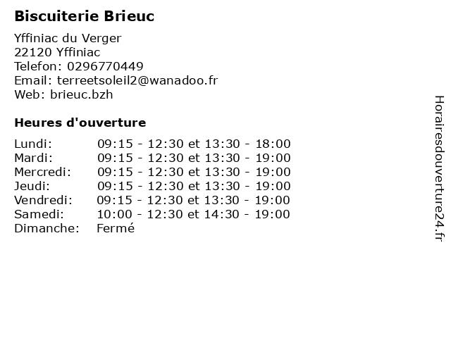 Biscuiterie Brieuc à Yffiniac: adresse et heures d'ouverture