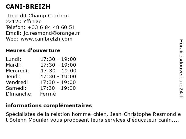 CANI-BREIZH à Yffiniac: adresse et heures d'ouverture